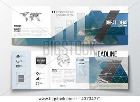 Vector set of tri-fold brochures, square design templates with element of world map and globe. Colorful polygonal backdrop, blurred background, sea landscape, modern triangle vector texture.
