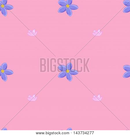 Stylish floral seamless pattern with forget-me-not flowers on pink background.