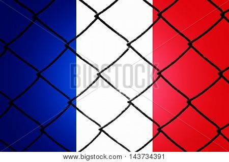 French flag, cracks and fence - Refugee crisis concept
