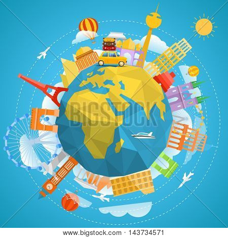 World famous signts abstract silhouettes collection. Travel concept vector illustration
