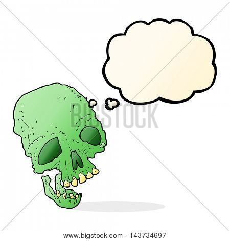 cartoon ancient spooky skull with thought bubble