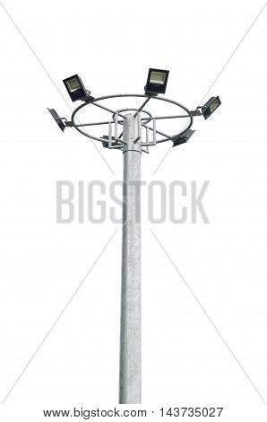 isolated Light pole In the park on white background