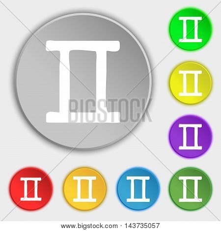 Gemini Icon Sign. Symbol On Eight Flat Buttons. Vector