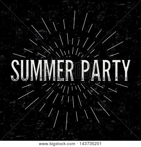 Abstract creative vector design layout with text - summer party. Vintage concept background, art template, retro elements, logo, labels, layout, badge, old banner, card. Hand made typography word.