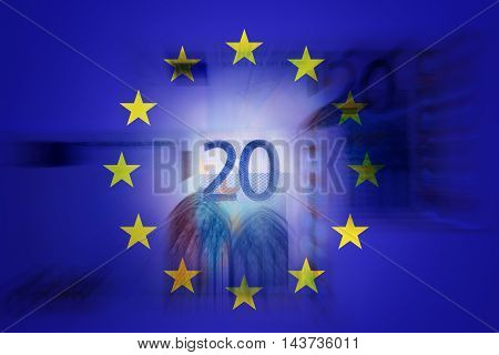 20 euros and EU flag - Finance concept