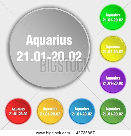 Aquarius Icon Sign. Symbol On Eight Flat Buttons. Vector