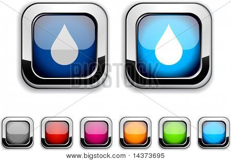 Rain realistic icons. Empty buttons included.