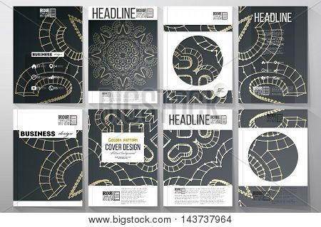 Set of business templates for brochure, flyer or booklet. Polygonal backdrop with golden connecting dots and lines, connection structure. Digital scientific background.