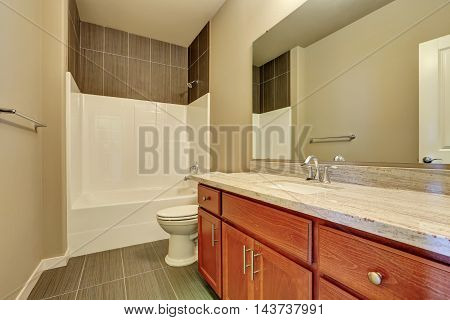 Interior Of Modern Bathroom. Vanity With Marble