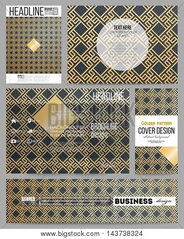 Set of business templates for presentation, brochure, flyer or booklet. Islamic gold pattern, overlapping geometric square shapes forming abstract ornament. Vector golden texture on black background.