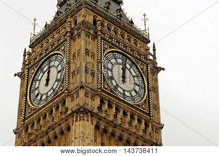 Detail of the Clock Tower Big Ben Palace of Westminster London England. UK.