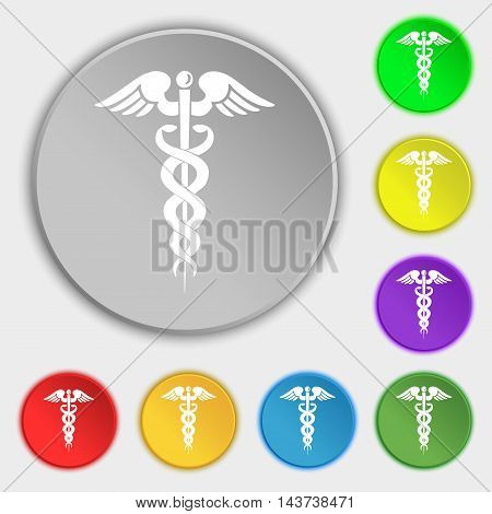 Medicine Icon Sign. Symbol On Eight Flat Buttons. Vector