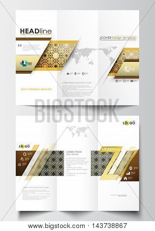 Tri-fold brochure business templates on both sides. Easy editable abstract layout in flat design. Islamic gold pattern, overlapping geometric shapes forming abstract ornament. Vector golden texture.