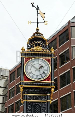 Little Ben Victoria street London England. It is a cast iron miniature clock tower near Victoria station. It mimics the famous Big Ben. Reinstalled on 28 February 2016 after refurbishment.