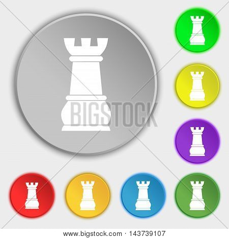 Chess Rook Icon Sign. Symbol On Eight Flat Buttons. Vector