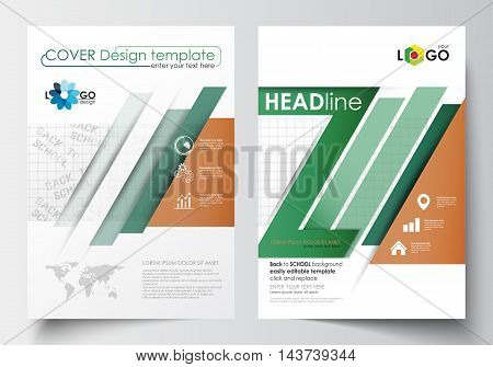Business templates for brochure, magazine, flyer, booklet or annual report. Cover design template, easy editable blank, abstract flat layout in A4 size. Back to school background with letters made from halftone dots, vector illustration