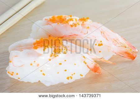 Sushi On The Wood Table