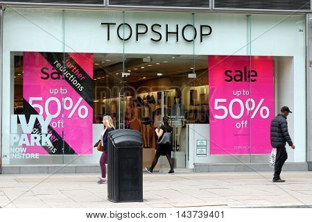 LONDON ENGLAND - JULY 8 2016: Topshop store near Victoria station. Topshop is a British fashion retailer with more than 500 shops worldwide.