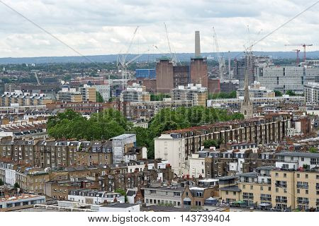 Aerial View from Westminster Cathedral on Roofs and Houses of London United Kingdom. Battersea Power Station.