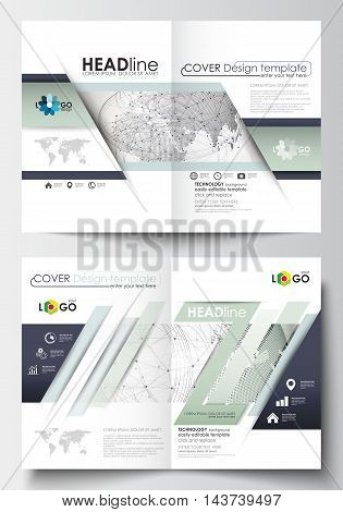 Business templates for brochure, magazine, flyer, booklet or annual report. Cover design template, easy editable blank, abstract flat layout in A4 size. Dotted world globe with construction and polygonal molecules on gray background, vector illustration