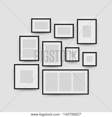 Black blank photo frame wall gallery set. Vector picture frame mockup template on wall background