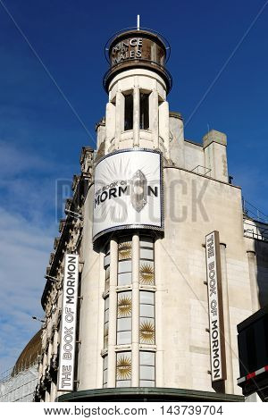 LONDON ENGLAND - JULY 8 2016: Prince of Wales Theatre West End theatre located on Coventry Street City of Westminster since 1884 designed by C.J. Phipps.