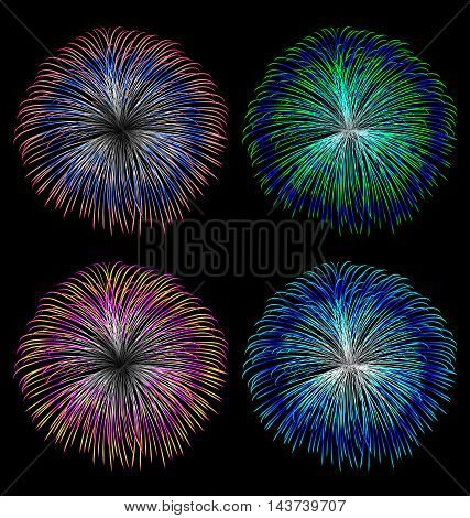 Colorful fireworks vector set on black background