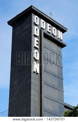 LONDON ENGLAND - JULY 8 2016: Outside view of Odeon British chain of cinemas one of the largest in Europe founded 1928 by Oscar Deutsch Leicester Square branch.