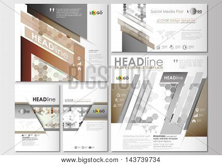 Social media posts set. Business templates. Cover design template, easy editable, abstract flat layouts in popular formats. Abstract gray color business background, modern stylish hexagonal vector texture.