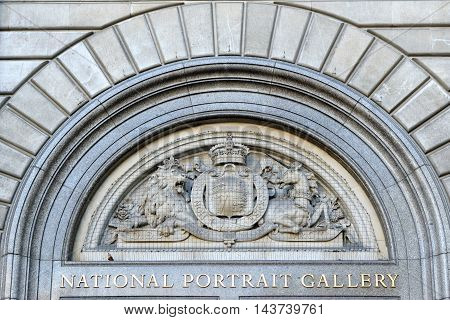 LONDON ENGLAND: JULY 8 2016: Detail of National Portrait Gallery building. It houses a collection of portraits of historically important and famous British people.