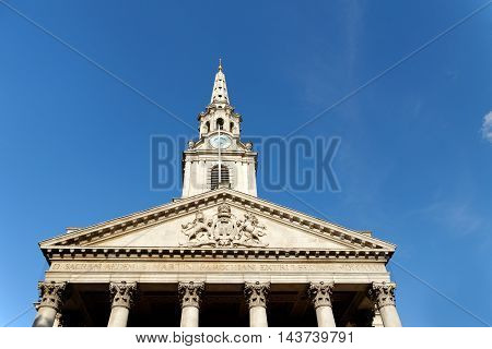 St Martin-in-the-Fields English Anglican church at the north-east corner of Trafalgar Square in the City of Westminster. London England.