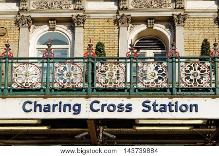 LONDON ENGLAND - JULY 8 2016: Charing Cross station. It is the junction between Whitehall and Strand and Cockspur Street.It is the fifth busiest rail terminal in London.