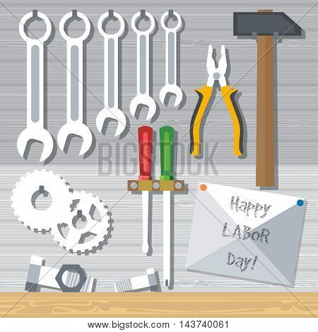 Happy Labor Day with tools set. Digital vector image