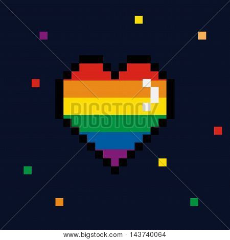 Vector 8 bit Pride pixel heart Valentines Day retro card