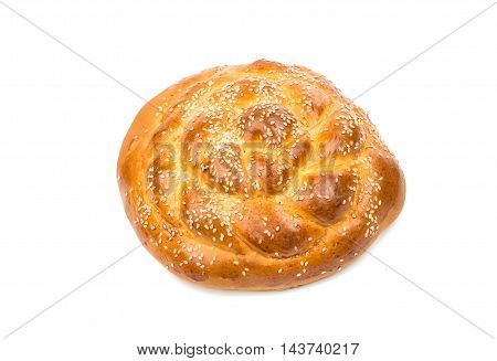 bun with sesame seeds on a white background