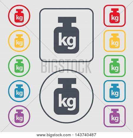 Weight Icon Sign. Symbol On The Round And Square Buttons With Frame. Vector