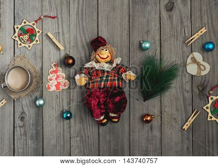 Vintage Christmas toy on wooden table top view. Christmas background