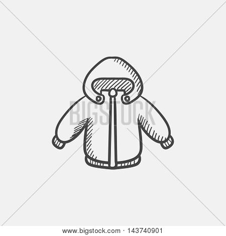 Winter jacket sketch icon for web, mobile and infographics. Hand drawn vector isolated icon.