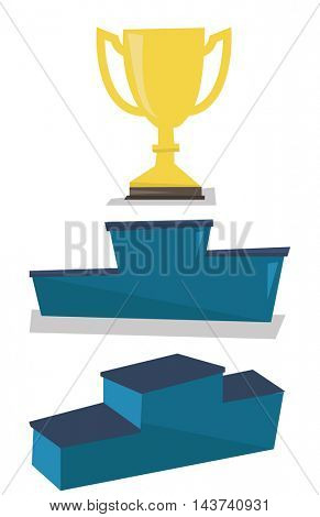 Gold trophy on pedestal vector flat design illustration isolated on white background.