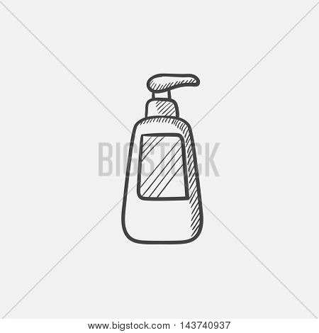 Bottle with dispenser pump sketch icon for web, mobile and infographics. Hand drawn vector isolated icon.