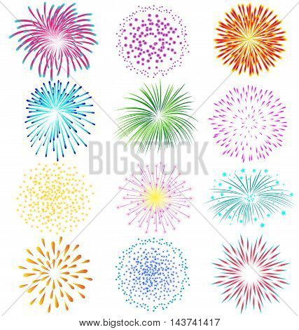 Colorful fireworks vector set on white background