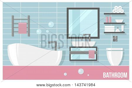 Bathroom modern interior with blue tiles in flat style. Vector illustration about hygiene and home.