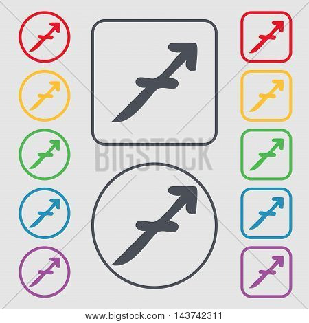 Sagittarius Icon Sign. Symbol On The Round And Square Buttons With Frame. Vector
