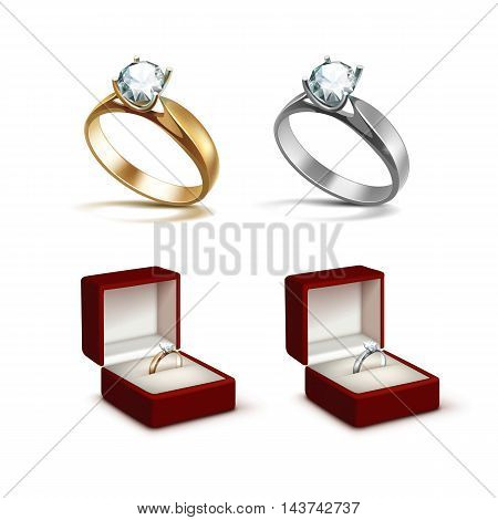 Vector Gold and Silver Engagement Rings with White Shiny Clear Diamond in Red Jewelry box Close up Isolated on White Background