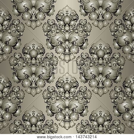 Modern elegant brown gold vector seamless pattern background with vintage  volumetric ornaments. Stylish  illustration and 3d vintage decor elements with shadow and highlights. Endless elegant  texture.