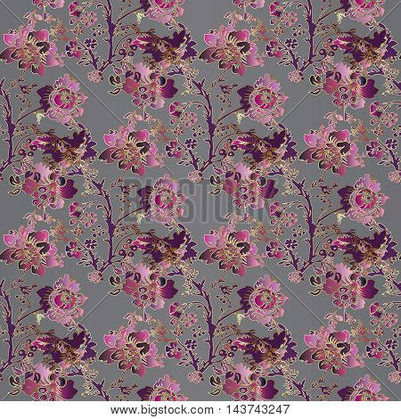 Stylish floral modern vector seamless pattern with vintage pink,purple, violet flowers and ornaments on the grey background. Stylish illustration and 3d vintage decor elements with shadow and highlights. Endless elegant texture.