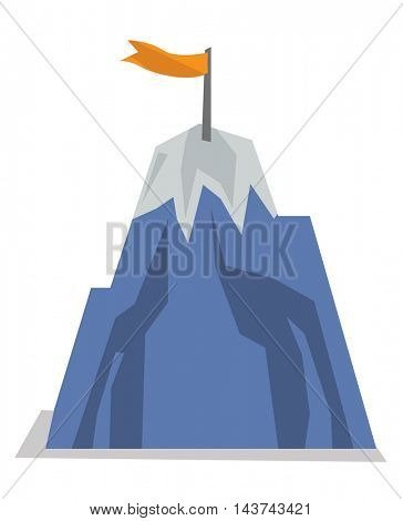 Mountain peak with flag. Concept of achievement business goal. Vector flat design illustration isolated on white background.