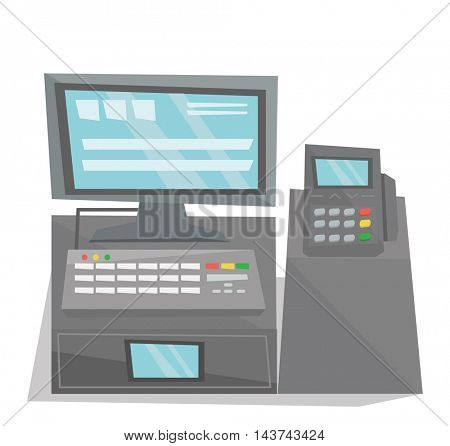 Front view of electronic cash register vector flat design illustration isolated on white background.