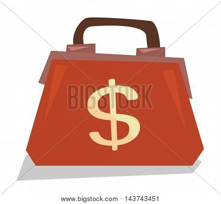 Handbag with dollar sign vector flat design illustration isolated on white background.