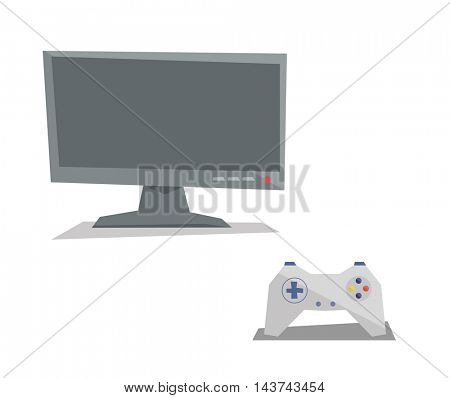Game controller and screen vector flat design illustration isolated on white background.
